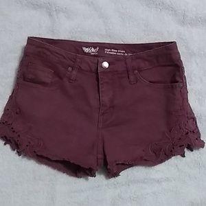 Mossimo denim Shorts - Burgundy Cutt Off Denim Shorts